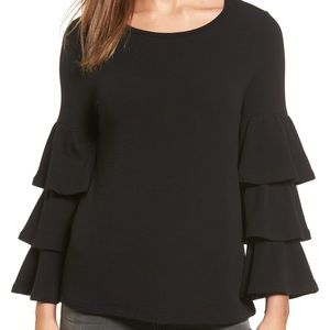Nordstrom | Tiered Bell Sleeve Top by Pleione NWT